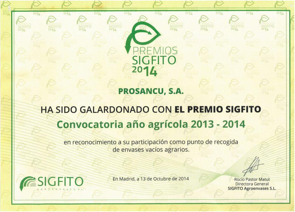 Prosanzcu - Premio SIGFITO 2014
